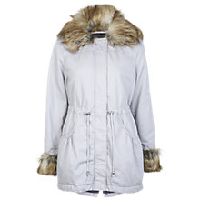 Buy Miss Selfridge Faux Fur Collar Parka, Grey Online at johnlewis.com