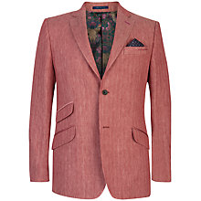Buy Ted Baker Herringbone Linen Jacket, Red Online at johnlewis.com