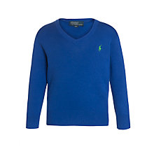 Buy Polo Ralph Lauren Boys' Long Sleeve V-Neck Jumper, Blue Online at johnlewis.com