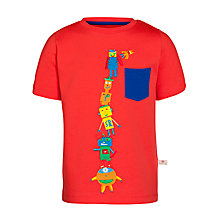 Buy Kids Company Monster Stack T-Shirt, Red Online at johnlewis.com