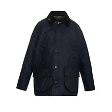 Buy Barbour Boys' Jonelle Print Wax Jacket, Indigo Online at johnlewis.com