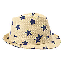 Buy John Lewis Boy Star Print Straw Hat, Blue/Neutral Online at johnlewis.com