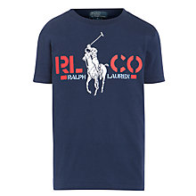 Buy Polo Ralph Lauren Boys' Graphic Print T-Shirt, Navy Online at johnlewis.com