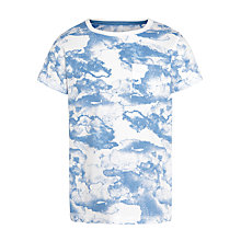 Buy John Lewis Boy Cloud Print T-Shirt, Blue/White Online at johnlewis.com