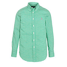 Buy Polo Ralph Lauren Boys' Blake Gingham Shirt, Green Online at johnlewis.com