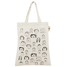 Buy Kids Company Faces Canvas Bag, Cream Online at johnlewis.com
