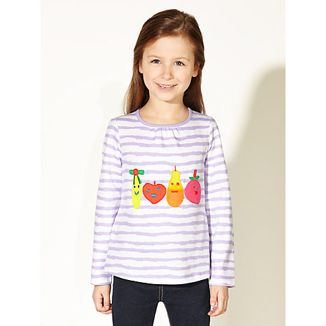 Buy Kids Company Striped Fruit T-Shirt, Purple/White Online at johnlewis.com