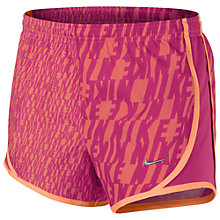 Buy Nike Girl's Tempo Printed Shorts, Purple/Orange Online at johnlewis.com