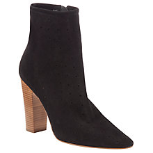 Buy See by Chloé Perforated Star Suede Stack Heel Ankle Boots, Black Online at johnlewis.com