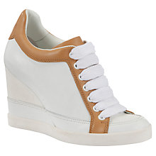 Buy See by Chloé Two-Tone Leather Wedge Platform Trainers, White / Tan Online at johnlewis.com