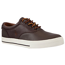 Buy Polo Ralph Lauren Vaughn Saddle Leather Trainers, Brown Online at johnlewis.com