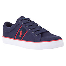 Buy Polo Ralph Lauren Bolingbrook Canvas Trainers, Navy/Red Online at johnlewis.com
