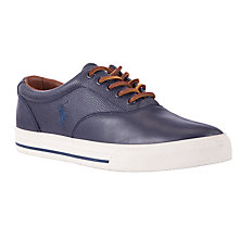 Buy Polo Ralph Lauren Vaughn Saddle Leather Trainers, Navy Online at johnlewis.com