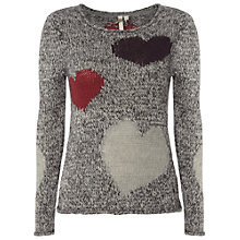 Buy White Stuff Verushka Heart Jumper, Gunmetal Online at johnlewis.com
