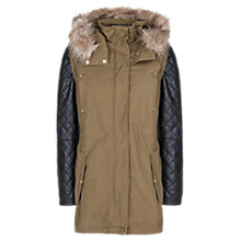 Buy Mango Leather Sleeve Convertible Parka, Medium Beige Online at johnlewis.com
