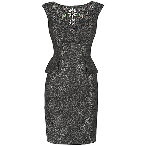 Buy Almari Jewel Jacquard Dress, Black Online at johnlewis.com