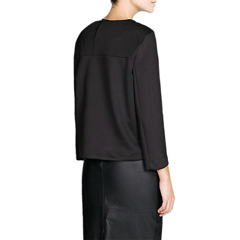 Buy Mango Neoprene-Effect T-Shirt, Black Online at johnlewis.com