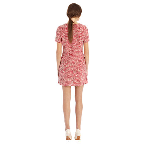 Buy Warehouse Boucle Zip Shoulder Shift Dress, Red Pattern Online at johnlewis.com