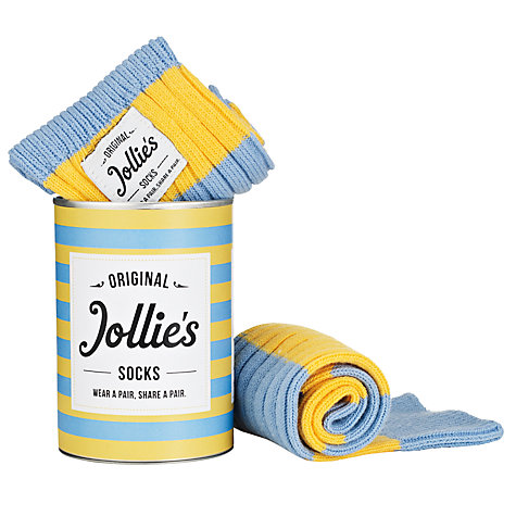 Buy Jollie Goods No. 1 Stripe Cotton Socks, Blue/Yellow Online at johnlewis.com