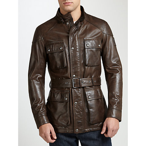 Buy Belstaff Roadmaster Leather Jacket, Black/Brown Online at johnlewis.com