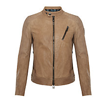 Buy Belstaff Kirkham Leather Biker Jacket, Racing Birch Online at johnlewis.com