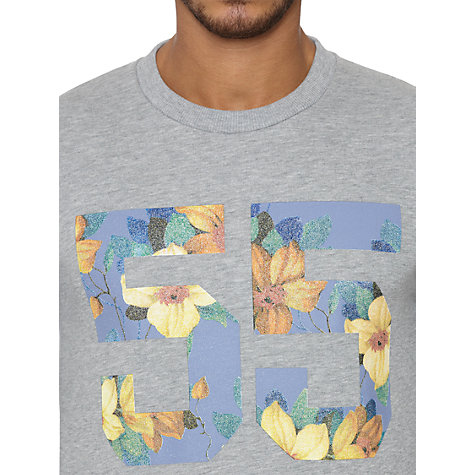 Buy Original Penguin Floral 55 Jersey Sweatshirt, Rain Heather Online at johnlewis.com
