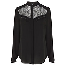 Buy Warehouse Lace and Zip Blouse, Black Online at johnlewis.com
