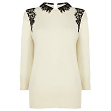 Buy Oasis Lace Collar Jumper, Off White Online at johnlewis.com