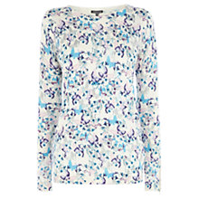 Buy Warehouse Butterfly Floral Print Zip Cuff Jumper, Cream Online at johnlewis.com