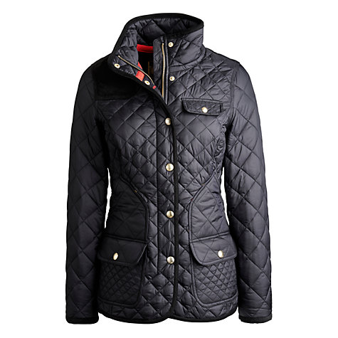 Buy Joules Caverly Quilted Coat, Black Online at johnlewis.com