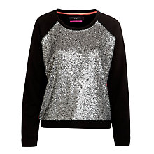 Buy Oui Sequin Front Jumper, Black Grey Online at johnlewis.com