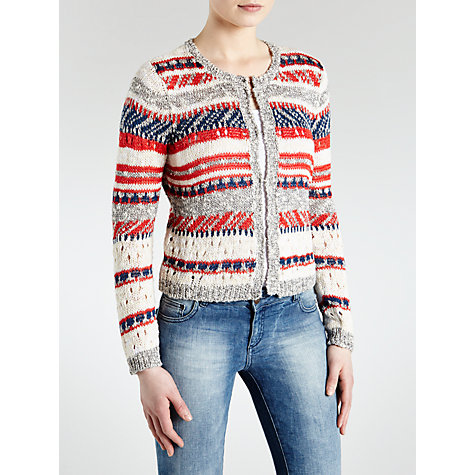 Buy Oui Striped Open Knit Cardigan, Grey/Red Online at johnlewis.com