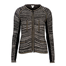 Buy Hoss Intropia Zip Trim Boxy Cardigan, Black Online at johnlewis.com