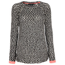 Buy Oui Neon Trim Jumper, Black/White Online at johnlewis.com
