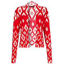 Buy Oui Aztec Print Jersey Cardigan, White Red Online at johnlewis.com