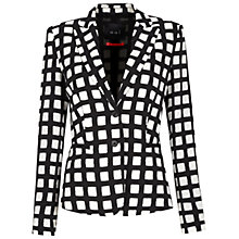 Buy Oui Windowpane Check Jacket, Black/White Online at johnlewis.com