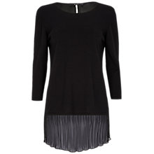 Buy Oui Chiffon Back Knit Top, Black Online at johnlewis.com