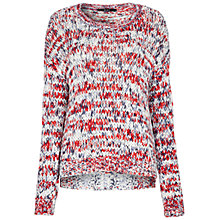 Buy Oui Loose Knit Crew Neck Jumper, White/Red Online at johnlewis.com