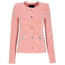 Buy Oui Collarless Zip Pocket Jacket, White/Red Online at johnlewis.com