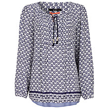 Buy Oui Contrast Trim Blouse, White Blue Online at johnlewis.com