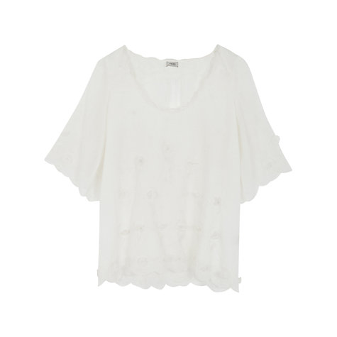 Buy Hoss Intropia Applique Petal Top, White Online at johnlewis.com