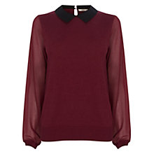 Buy Oasis Lace Collar Jumper, Burgundy Online at johnlewis.com