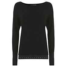 Buy Mint Velvet Stud Layer Knitted Top, Black Online at johnlewis.com