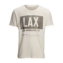Buy Selected Homme LAX Flight Graphic Short Sleeve T-Shirt, Egret Online at johnlewis.com