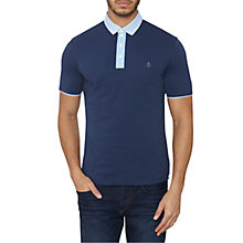 Buy Original Penguin Grava Stripe Collar Polo Shirt, Dress Blue Online at johnlewis.com