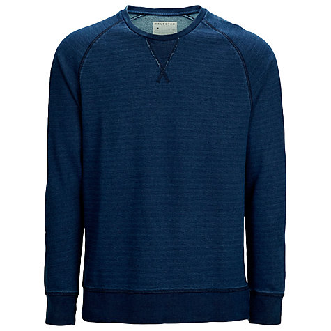 Buy Selected Homme Indigo Spleen Cotton Jumper, Indigo Online at johnlewis.com