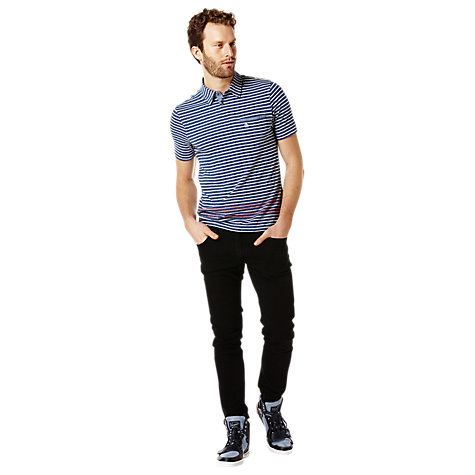 Buy Original Penguin Indigo Stripe Polo Shirt, Dark Denim Online at johnlewis.com