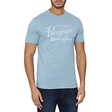 Buy Original Penguin The Script Logo T-Shirt, Faded Denim Online at johnlewis.com