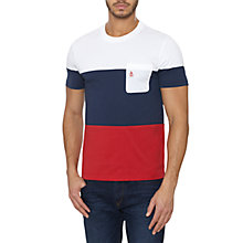 Buy Original Penguin Block Stripe T-Shirt, Pompeian Red Online at johnlewis.com