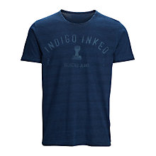 Buy Selected Homme Indigo Inked Selected Jeans T-Shirt, Blue Online at johnlewis.com
